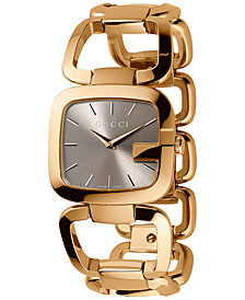 Gucci Women's Swiss G-Gucci Gold-Tone PVD Stainless Steel Bracelet Watch 32x30mm YA125408