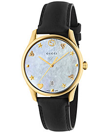 Gucci Women's Swiss G-Timeless Black Leather Strap Watch 36mm