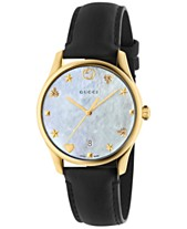 06def7452bc Gucci Women s Swiss G-Timeless Black Leather Strap Watch 36mm
