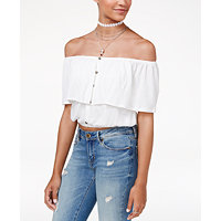 American Rag Juniors Cropped Off-The-Shoulder Top (White / Cayenne)