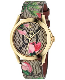 Gucci Women's Swiss G-Timeless Pink Blooms Canvas Strap Watch 38mm