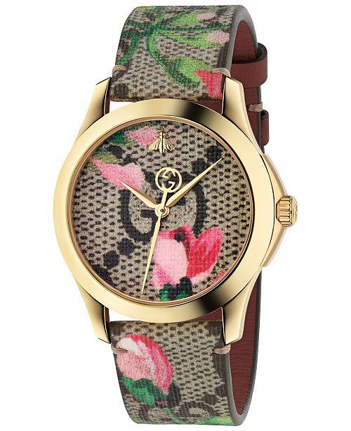214b5cfb63d Gucci Women s Swiss G-Timeless Pink Blooms Canvas Strap Watch 38mm ...