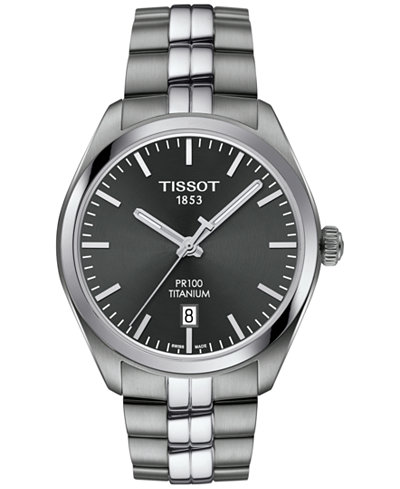 Tissot Men's Swiss PR100 Titanium Bracelet Watch 39mm