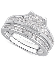 Diamond Cluster Channel-Set Bridal Set (1 ct. t.w.) in 14k White Gold