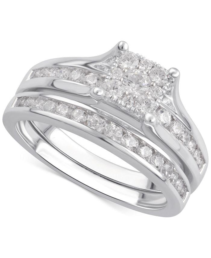 Macy's - Diamond Cluster Channel-Set Bridal Set (1 ct. t.w.) in 14k White Gold