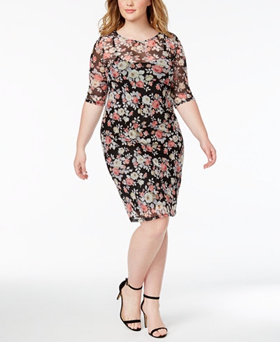 Monteau Plus Size Mesh Sheath Dress - Dresses - Plus Sizes - Macy\'s