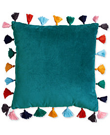 "Scribble Velvet 16"" Square Decorative Pillow with Tassels"