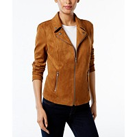 Deals on Style & Co Petite Faux Suede Moto Jacket