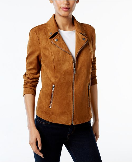 Style & Co Petite Faux Suede Moto Jacket, Created for Macy's