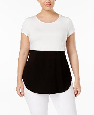 Alfani Plus Size Two-Tone T-Shirt, Created for Macy's