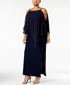 Xscape Plus Size Embellished Chiffon-Overlay Gown