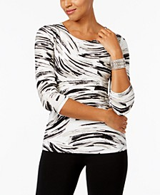 Printed Jacquard Top, Created for Macy's, Regular & Petite