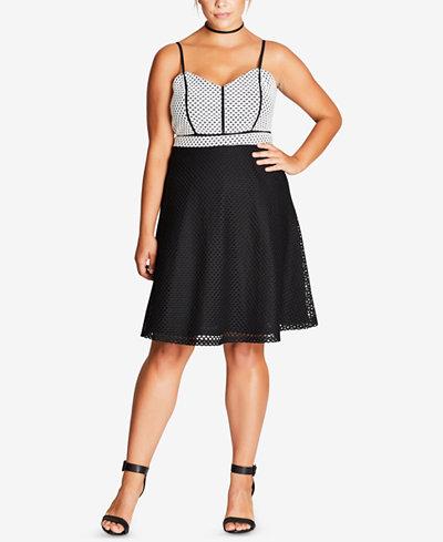 City Chic Trendy Plus Size Geo-Mesh Dress