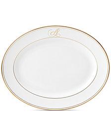 Lenox Federal Gold Monogram Oval Platter, Script Letters