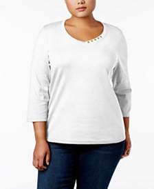 Karen Scott Plus Size Cotton Top, Created For Macy's