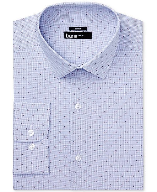 Bar III Men's Slim-Fit Stretch Easy-Care Rust Navy Dot Micro Gingham Dress Shirt, Created for Macy's