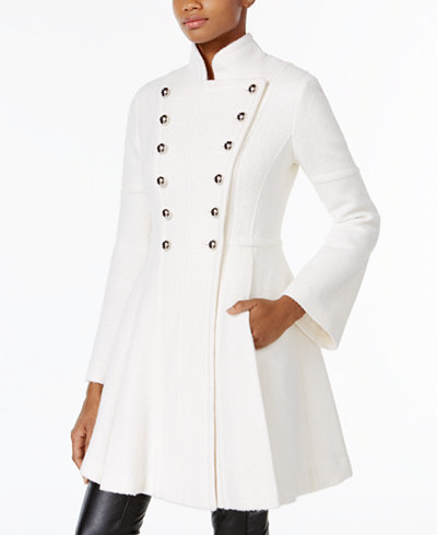 GUESS Skirted Double-Breasted Military Coat - Coats - Women - Macy's