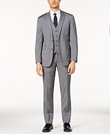 Kenneth Cole Reaction Men's Stretch Medium Gray Sharkskin Vested Suit
