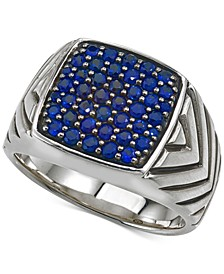 Sapphire Cluster Ring (1 3/8 ct. t.w.) in Sterling Silver, Created for Macy's