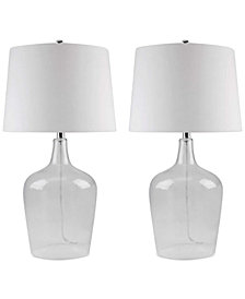 Abbyson Set of 2 Zen Clear Glass Table Lamps