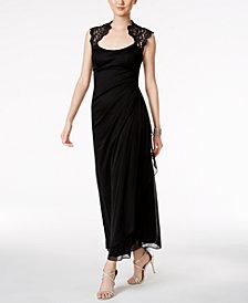 X By Xscape Petite Lace-Trim Gown