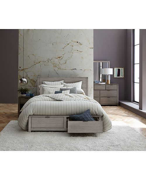 Furniture Tribeca Grey Storage Platform Bedroom Furniture Collection