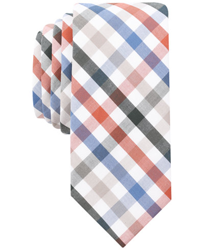 Bar III Men's Quatro Gingham Skinny Tie, Created for Macy's