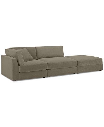 Aryanna 3-Pc. Modular Sofa with Ottoman - Custom Colors, Created for Macy's