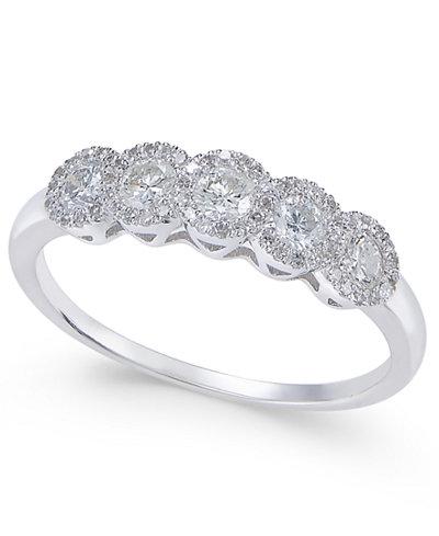 Diamond Five-Stone Halo Ring (1/2 ct. t.w.) in 14k White Gold
