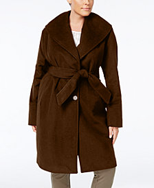 Jones New York Plus Size Asymmetrical Belted Coat
