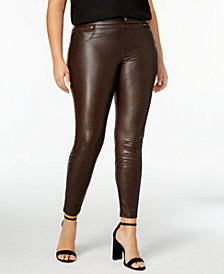 HUE® Women's Plus Size Faux Leatherette Leggings