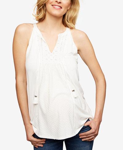 Daniel Rainn Maternity Lace-Trim Sleeveless Blouse