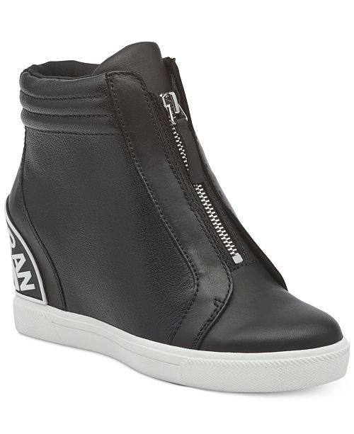 DKNY CONNIE SLIP ON WEDGE - High-top trainers - black