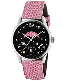 Gucci Women's Swiss G-Timeless Pink Lizard Leather Strap Watch 36mm