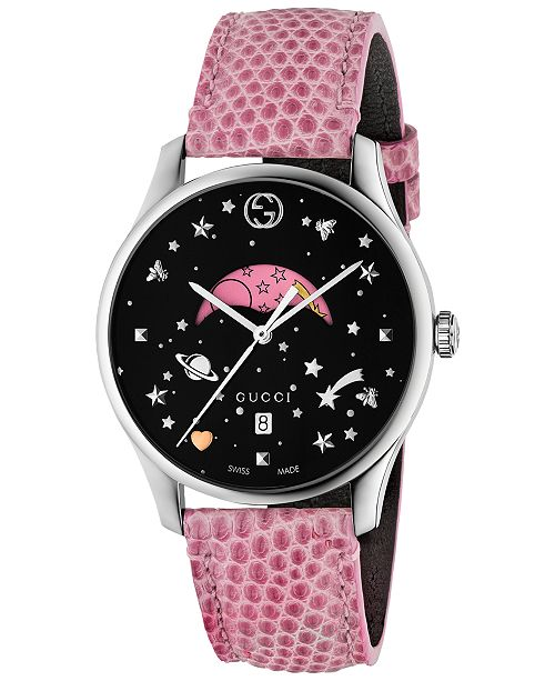 ae531568a36 Gucci Women s Swiss G-Timeless Pink Lizard Leather Strap Watch 36mm ...