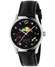 Gucci Women's Swiss G-Timeless Black Lizard Leather Strap Watch 36mm