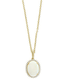 EFFY® Opal (4-3/8 ct. t.w.) & Diamond (3/8 ct. t.w.) Pendant Necklace in 14k Gold