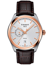 Tissot Men's Swiss PR100 Dual Time Brown Leather Strap Watch 39mm
