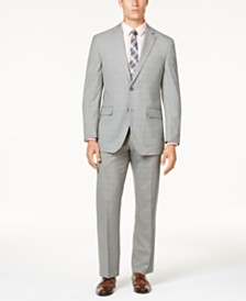 Perry Ellis Men's Portfolio Modern-Fit Comfort Stretch Light Gray Fine Plaid Suit