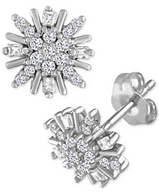 Diamond Cluster Starburst Stud Earrings (1/5 ct. t.w.) in 10k White Gold