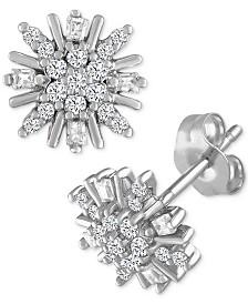 Diamond Cluster Starburst Stud Earrings (1/5 ct. t.w.) in 10k White Gold