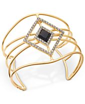 INC International Concepts Gold-Tone Stone and Pavé Openwork Cuff Bracelet, Created for Macy's