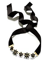 INC International Concepts Gold-Tone Dark Crystal Flower Black Velvet Ribbon Tie Choker Necklace, Created for Macy's
