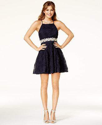 Trixxi Juniors' Embellished Soutache Fit & Flare Dress Juniors - Dresses -  Macy's