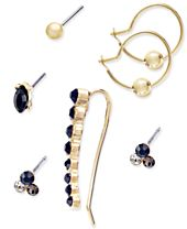INC International Concepts Gold-Tone 7-Pc. Set Crystal Mismatch Earrings, Created for Macy's