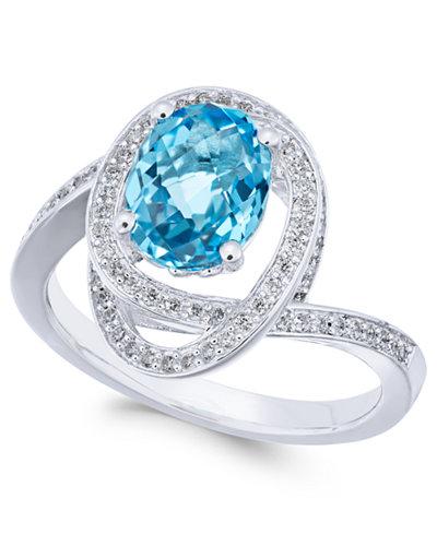 Blue Topaz (2-1/6 ct. t.w.) & Diamond (1/3 ct. t.w.) Ring in 14k White Gold