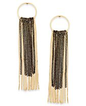 M. Haskell for INC International Concepts Two-Tone Hoop & Chain Fringe Linear Drop Earrings, Created for Macy's