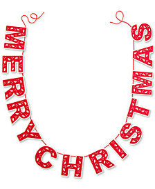 Holiday Lane Red Merry Christmas Garland, Created for Macy's