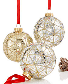 Holiday Lane Set Of 3 Large Shatterproof Ball Ornaments, Created for Macy's