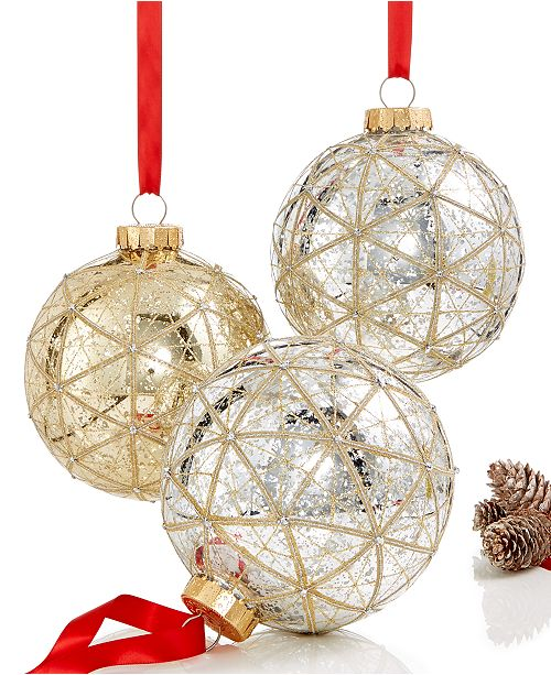 main image - Holiday Lane Set Of 3 Large Shatterproof Ball Ornaments, Created For